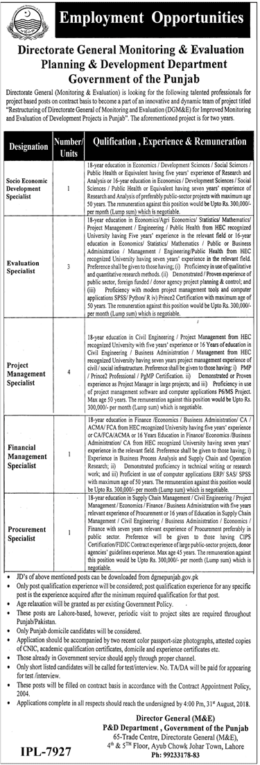 Planning And Development Department Punjab Jobs 2018 Application Form