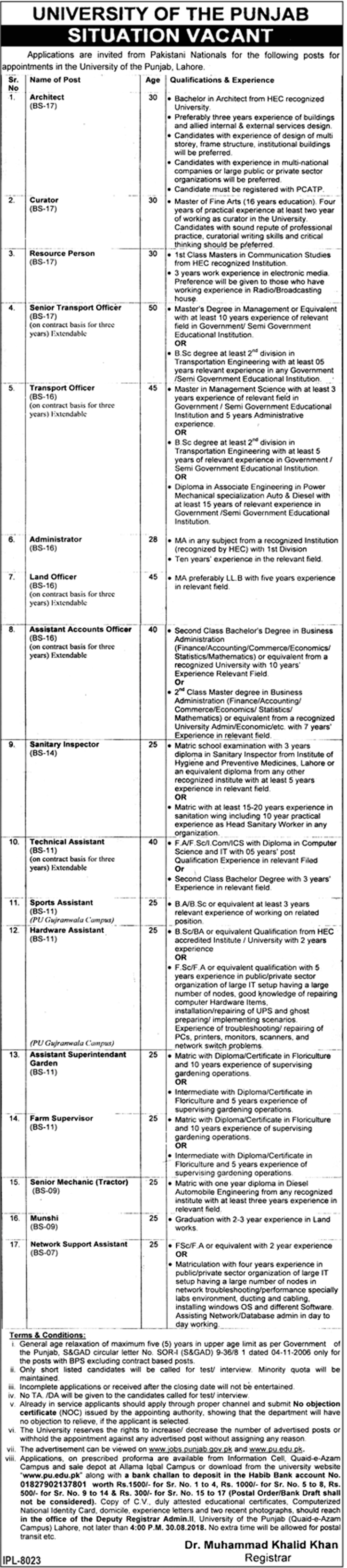 Punjab University Lahore Jobs 2018 August Advertisement www.pu.edu.pk