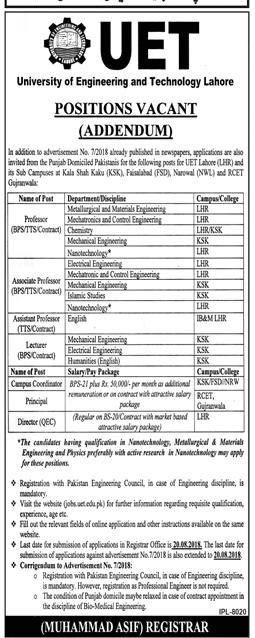 UET Lahore Jobs August 2018 Professor, Lecturer Advertisement
