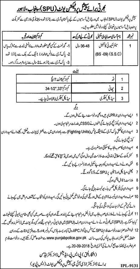 SPU Police Jobs 2018 Senior Security Constable Application Form
